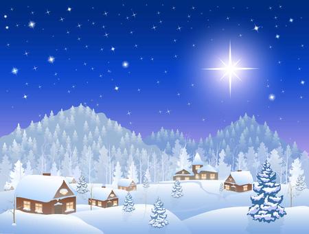 Invierno del pueblo nevando, bosque con abetos, montañas en el horizonte, gran estrella de Navidad en el cielo, ilustración vectorial