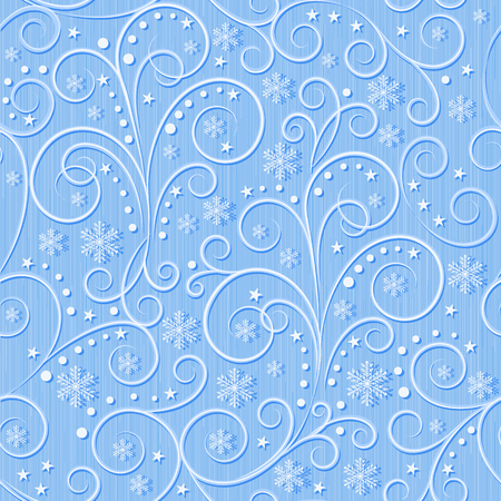 winter seamless pattern, blue swirl lines and white snowflakes on light blue background, seamless pattern, vector illustration Illustration