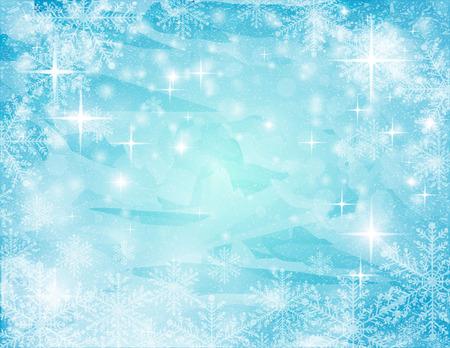 azul turqueza: fondo de la turquesa-blanco resumen navideño con estrellas y copo de nieve, ilustración vectorial Vectores