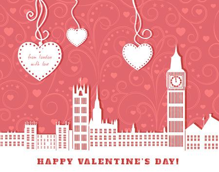 silhouette maison: Carte de voeux de valentine, Londres avec grand ben, fond rose avec remous ornement vintage, trois coeurs suspendus sur des bandes, coupe l'illustration en papier