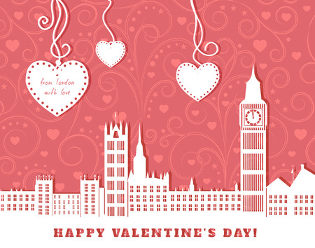 houses of parliament   london: valentine greeting card, London with big ben,  pink background with swirl vintage ornament,  three hearts hanging on tapes, cut paper  illustration