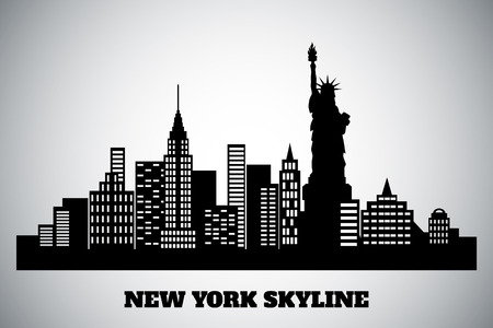 new york skyline: monochrome black-white skyline of a New York Illustration