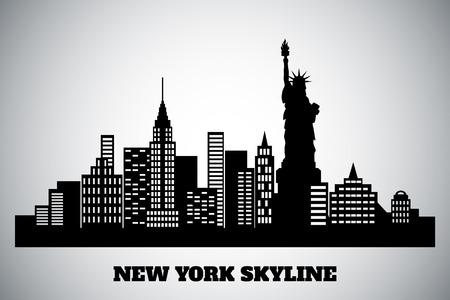 new york skyline: monochrome black-white skyline of a New York Illustration