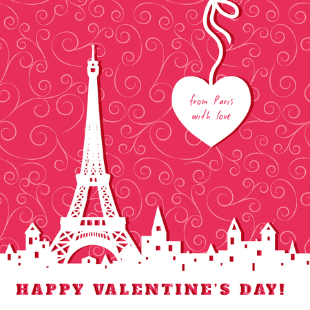 greeting card: silhouette of Eiffel tower, old town, heart, abstract red valentine background, inscription from Paris with love