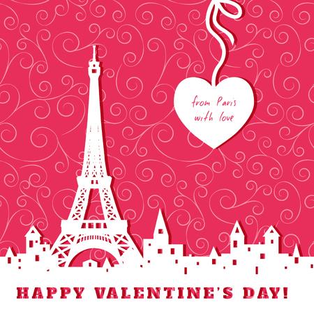 """silueta de la torre Eiffel, el casco antiguo, corazón, extracto fondo rojo de San Valentín, la inscripción """"de París con amor"""" Ilustración de vector"""