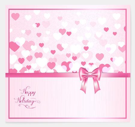 moño rosa: con los corazones, arco de color rosa, las letras y el lugar de su texto