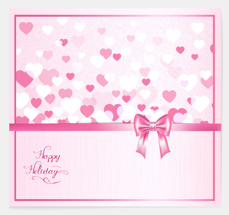 pink bow: valentine with hearts, pink bow, lettering and place for your text Illustration