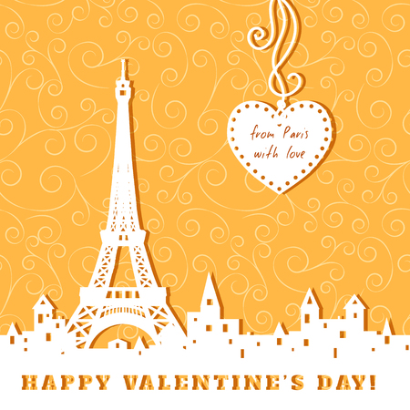 silhouette of Eiffel tower, old town, heart, abstract golden valentine background, inscription from Paris with love