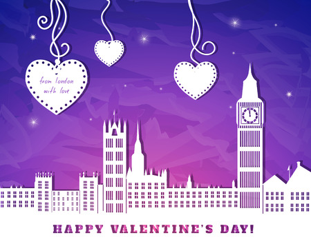 london night: valentine greeting card, London with big ben,  blue and pink sky,  three hearts hanging on tapes, cut paper  illustration