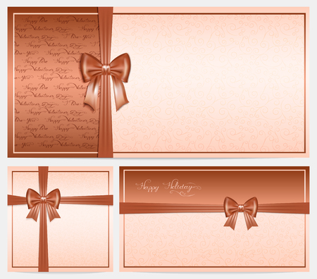 place for your text: three brown and beige congratulation card with bow and place for your text,  illustration Illustration