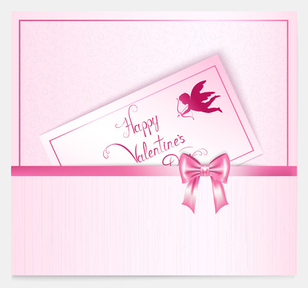 pink bow: two bright vertical valentine with hearts, pink bow, lettering and place for your text ,  illustration