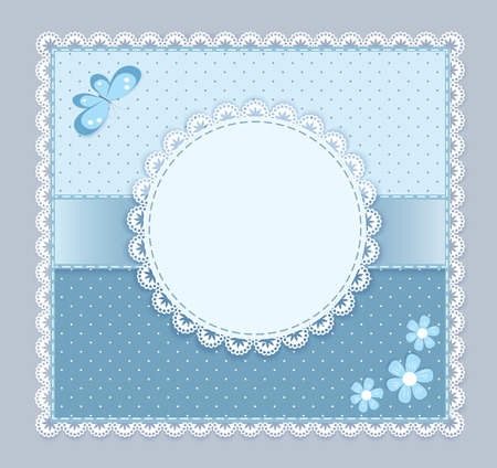 batterfly: lace napkin with decorative flower and batterfly on blue-grey  background,  stration