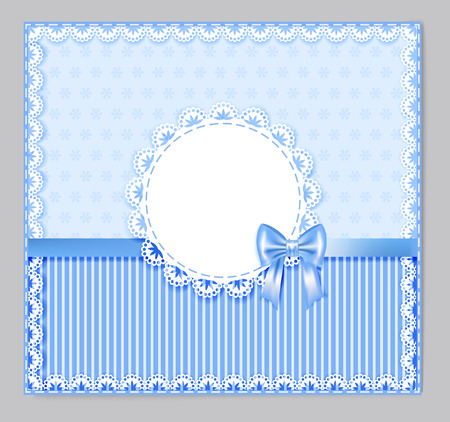 place for your text: blue greeting card with bow, lace, place for your text on little flower and strip background,  illustration