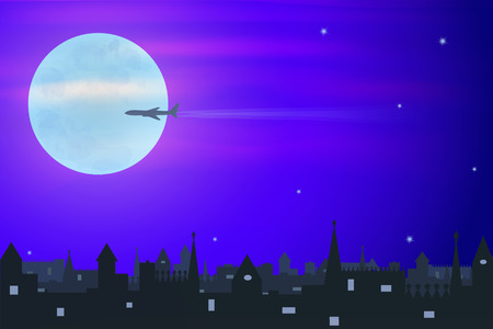 old town: plane on the big moon background flying over the old town, illustration Illustration