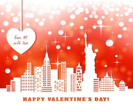 cut paper: valentine greeting card, New York, downtown, statue of liberty; red bright luminous background,  heart hanging on tapes, cut paper,  illustration Illustration