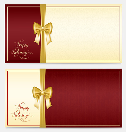 your text: two horizontal greeting card in red and gold colors with ribbons and place for your text,  illustration Illustration