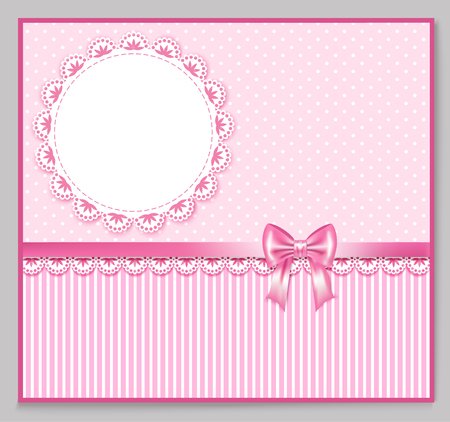 your text: pink greeting card with bow, lace, place for your text on polka and strip background, vector illustration