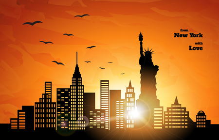 city landscape: orange sunset in New York, flying birds,  illustration