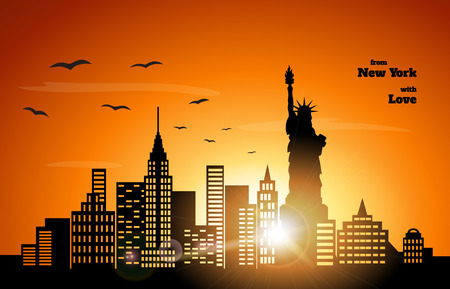 orange sunset: orange sunset in NewYork,  illustration