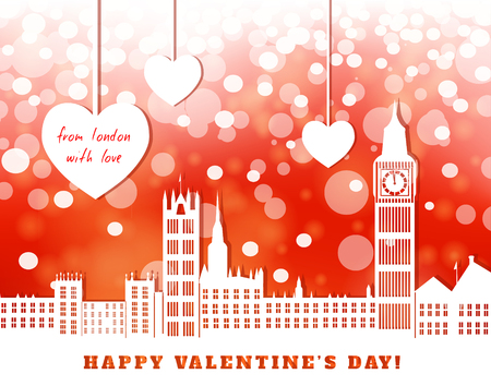 cut paper: valentine greeting card, London with big ben,  red bright luminous background,  three hearts hanging on tapes, cut paper illustration Illustration