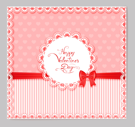 place for your text: greeting card with red bow, lace, place for your text on pink textured  background, illustration