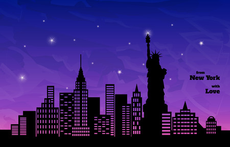 holey: night with pink glow in New York, illustration Illustration