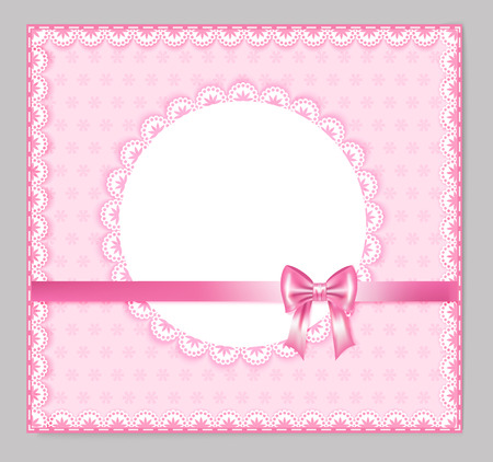 place for your text: pink greeting card with bow, lace, place for your text on polka and strip background, illustration