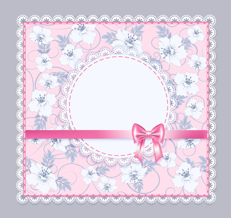 pink flower background: Round lace frame with decorative flower on pink background and bow, illustration Illustration