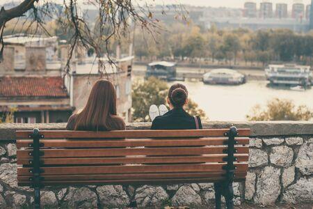 two girls on the bench. Kalemegdan fortess, Belgrade.
