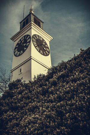Clock tower in Petrovaradin fortress, Novi Sad, Serbia Фото со стока