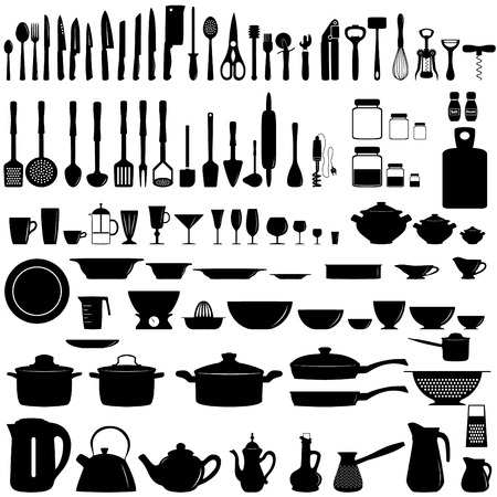 dishes set: Set of kitchen utensils and appliances
