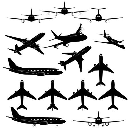 Set of different airplane signs Illustration