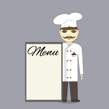 Chef holding a menu of the restaurant. Illustration for advertising, cover or presentation Vector