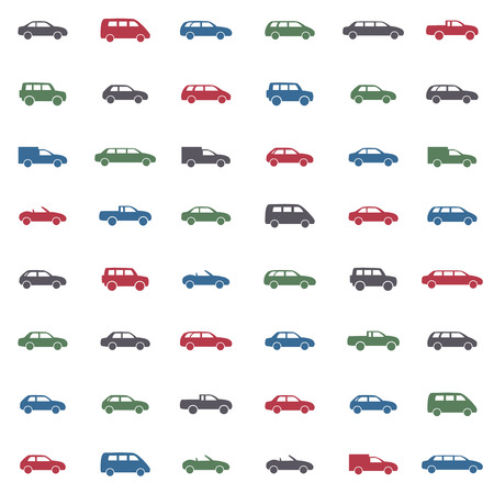 Car icons set. Twelve car forms different colors
