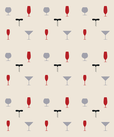cork screw: Bottle screw and wine glass seamless pattern, vector illustration
