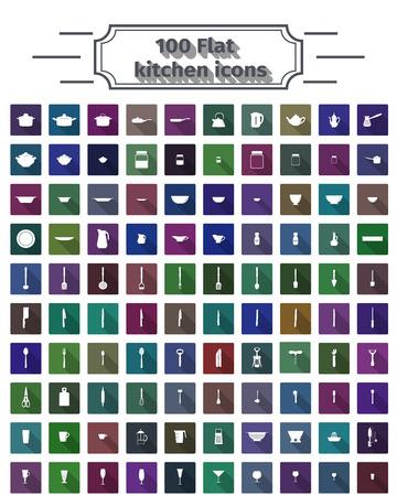 100 flat kitchen icons Çizim