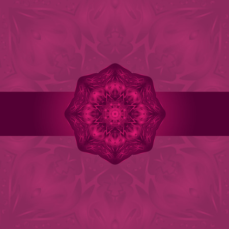 burgundy background: Mandala- Indian arnamentom. Stylish card for design and decor. Burgundy background.