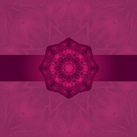 burgundy background: Mandala- Indian arnamentom. Stylish card for design and decor. Burgundy background.