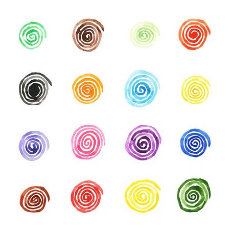 Handpaint vector acuarela background.Bright espirales de diferentes colores. Textura para las invitaciones, tarjetas, páginas web, diseño.