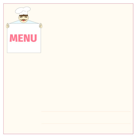 Cook shows the menu on a pink background Vector