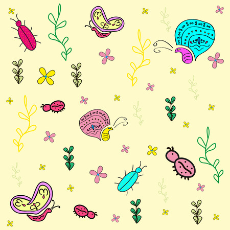 Hand drawn seamless pattern with insects. Butterfly, bugs, ladybug. Vector