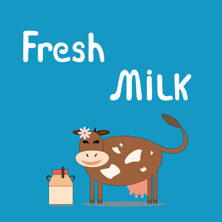 Cow with a can of milk.Happy cow on a blue background.Fresh milk. Vector