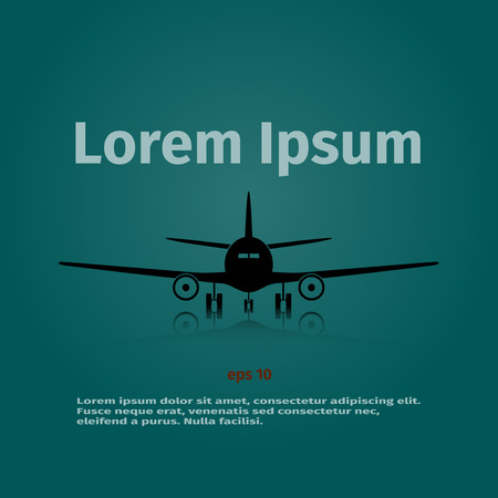 Advertising card with airplane on the background, vector illustration