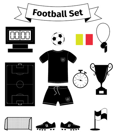 goal cage: Football icons set, vector illustration