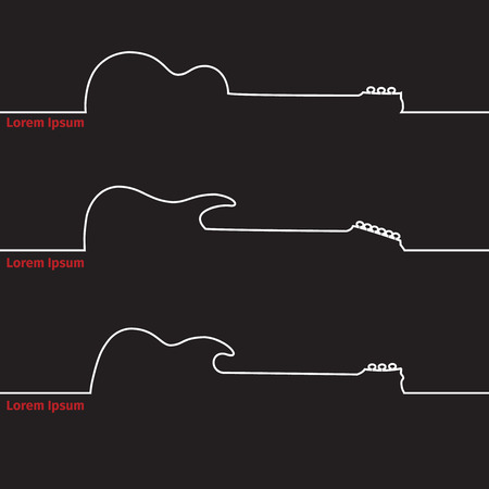 Guitars silhouette on a advertising card, vector illustration 일러스트