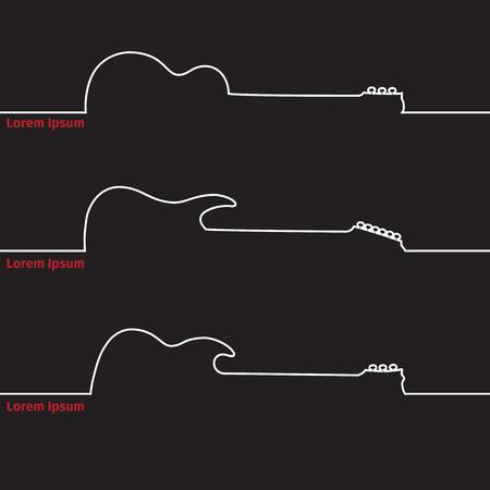 Guitars silhouette on a advertising card, vector illustration Illustration