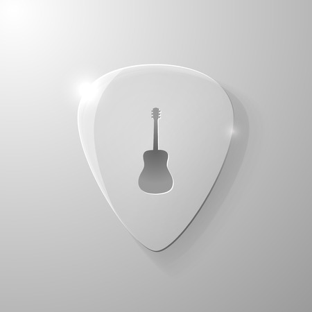 mediator: Guitar silhouette on a glass mediator background, vector illustration