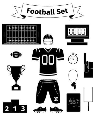 nfl helmet: American football icons set, vector illustration