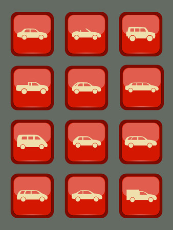 red sports car: Car icons set on a red button, vector illustration Illustration