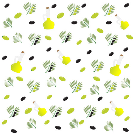 cruet: Vector illustration seamless pattern. Bottle of olive oil and a branch with olives. For advertising, design and other uses elements
